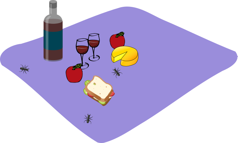Picnic by mazeo - A picnic spread out on a blanket. Pictures from openclipart.org (wine bottle: sheikh_tuhin; wine glass: piotr_halas; cheese: nicubunu; sandwich: rg1024; apple: johnny_automatic; ant: Andy)