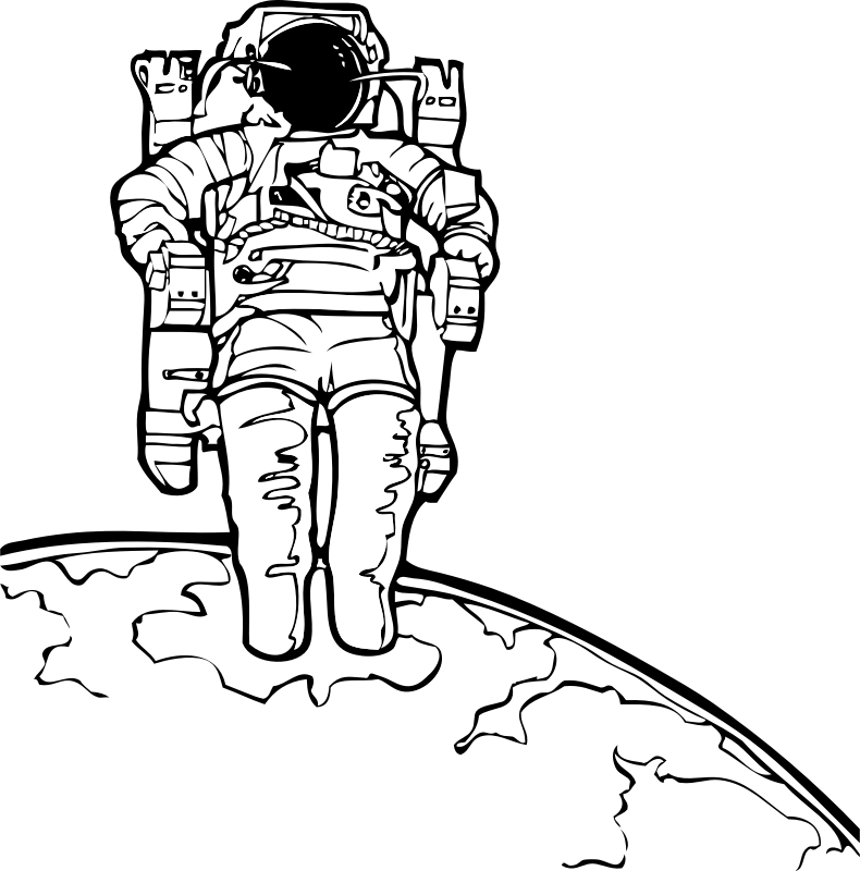 spacewalk by johnny_automatic - NASA coloring book image of an astronaut taking a space walk with Earth in the background