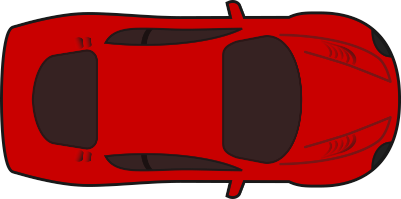 Red racing car top view by qubodup
