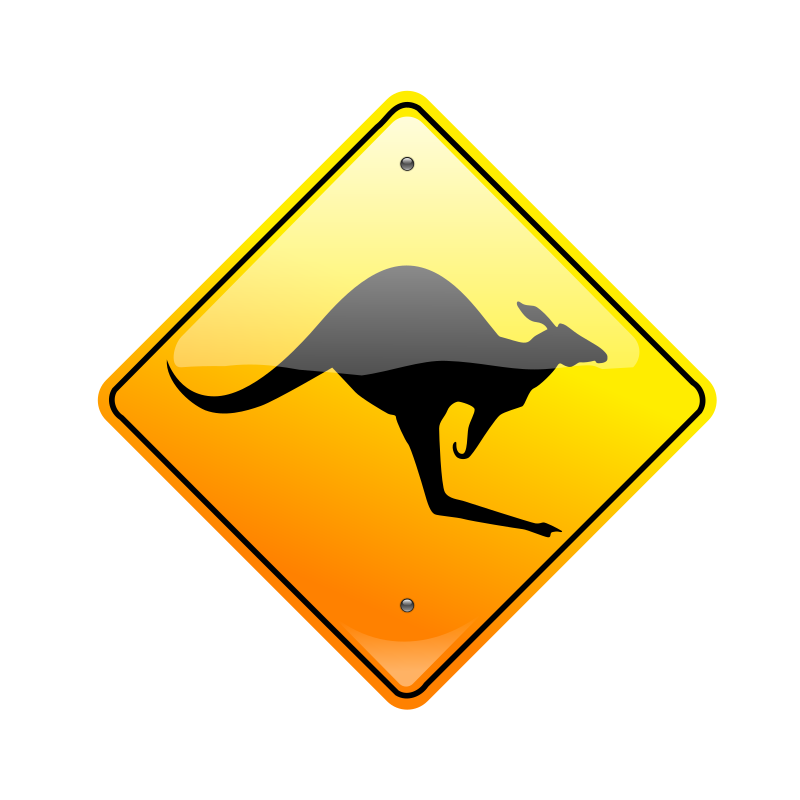 Kangaroo Sign by djcowan - Australian  road sign. Warning Kangaroos Ahead.