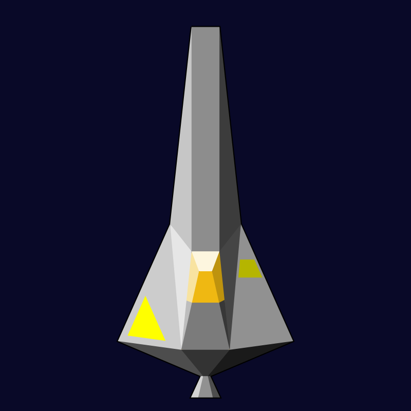 Single-Seater Space Craft by skotan - Top-down view of a single-seater space craft. The craft is grey with yellow markings. Its hull consists of polygonal pieces.