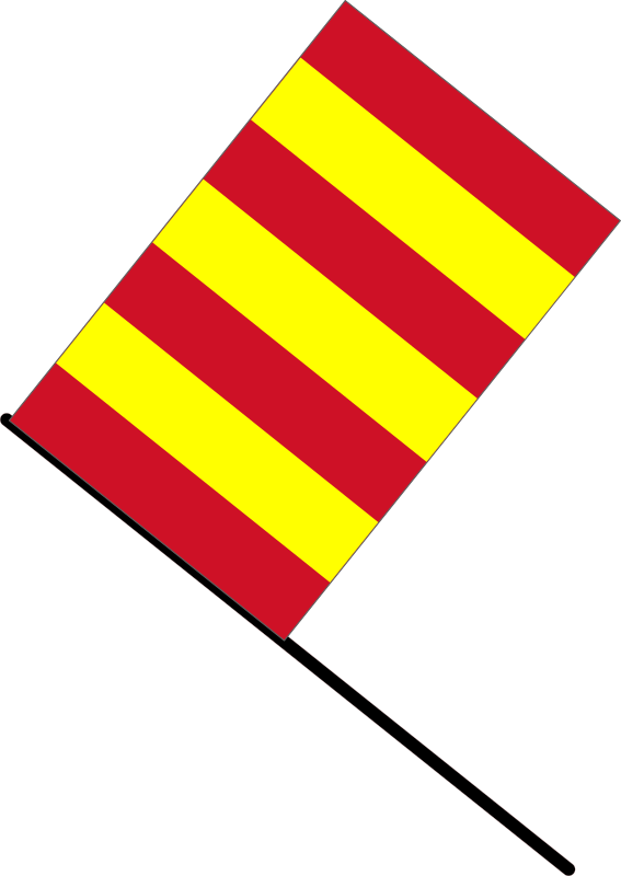 Yellow/red stripped flag by J_Alves - A yellow/red stripped flag, meaning slippery conditions or debris present (in F1). Drawn in Inkscape.