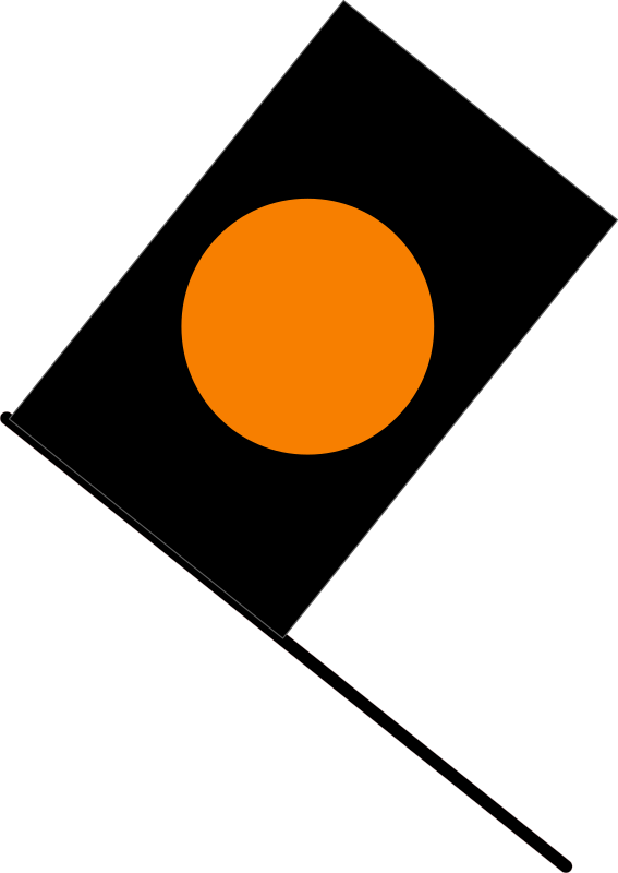 Black/orange flag by J_Alves - The black flag with orange circle, signaling that a car has apparently dangerous mechanical problems and has to stop in the pits (in F1). Drawn in Inkscape.