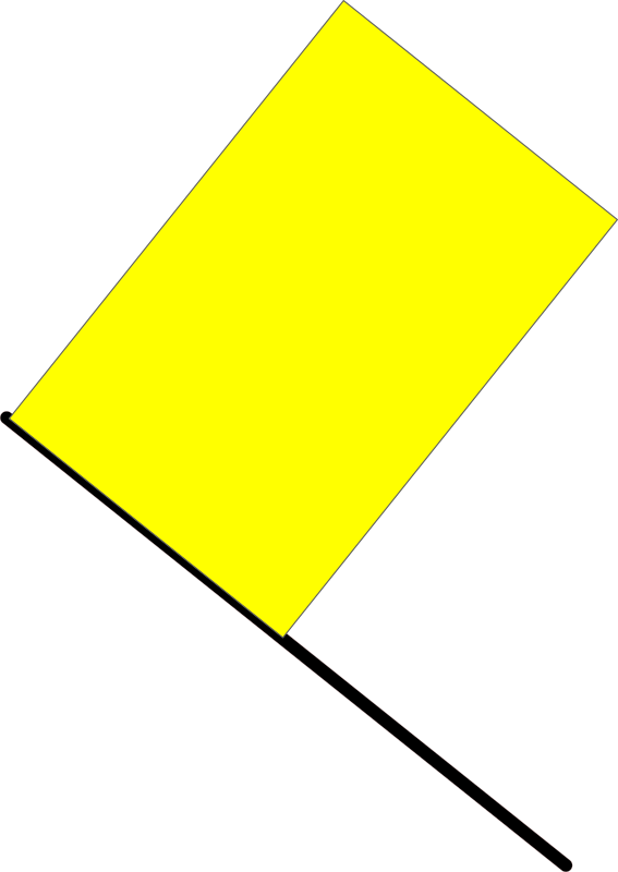 Yellow flag by J_Alves - A yellow flag, meaning danger ahead, slow down and no overtaking in the region (in F1). Drawn in Inkscape.