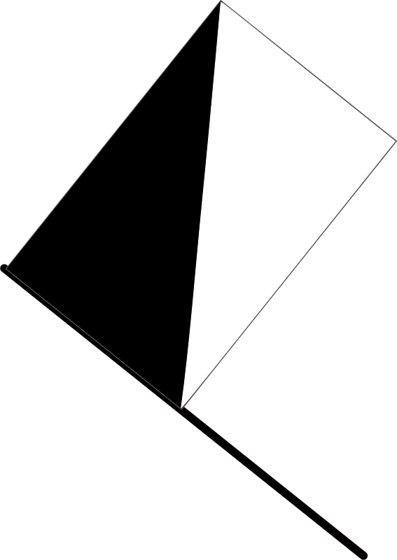 Half black flag by J_Alves - A black and white (diagonal) flag, warning a driver of unsporting conduct that, if repeated, could lead to disqualification (in F1). Drawn in Inkscape.