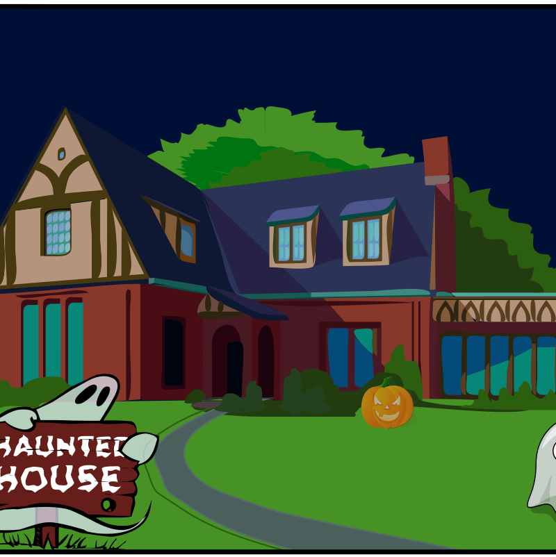 Haunted House by eady - Haunted house illustration with ghosts.