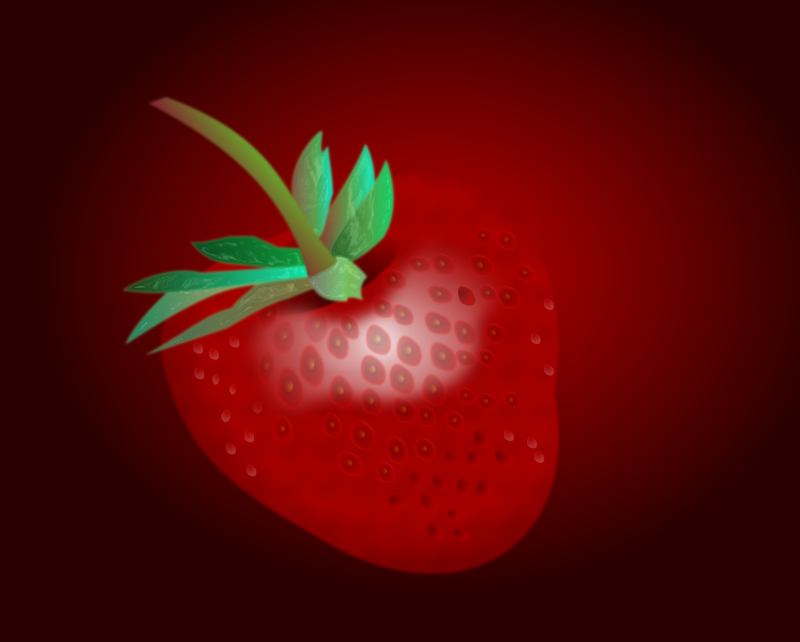 Realistic strawberry by pawelf - I create this realistic strawberry with leafs and stem in Inkscape 0.47. The graphic got a post-production  with an editor and a great and elegant XSLT by Thomas Meinike (datenverdrahten.de).