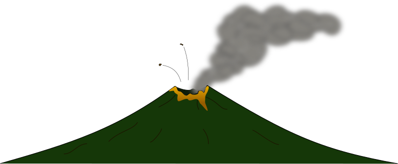 Volcano by J_Alves - A cartoon volcano, with lava, smoke and some projectiles, drawn in Inkscape.