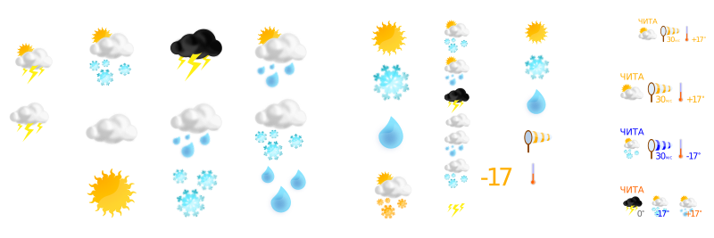 weather by ReinekeF - Various weather icons laid out. These could be split apart into separate clipart as a remix or request