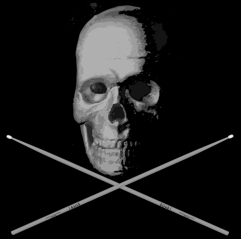 Old Skull Drumming BW by J_Alves - Skull and bones... I mean, drumsticks. :-) Skull was done by using autotrace on an old BW photo I took of a model skull of mine, and then tweaked in Inkscape. Drumstick was drawn from scratch in Inkscape. This is the greyscale version.