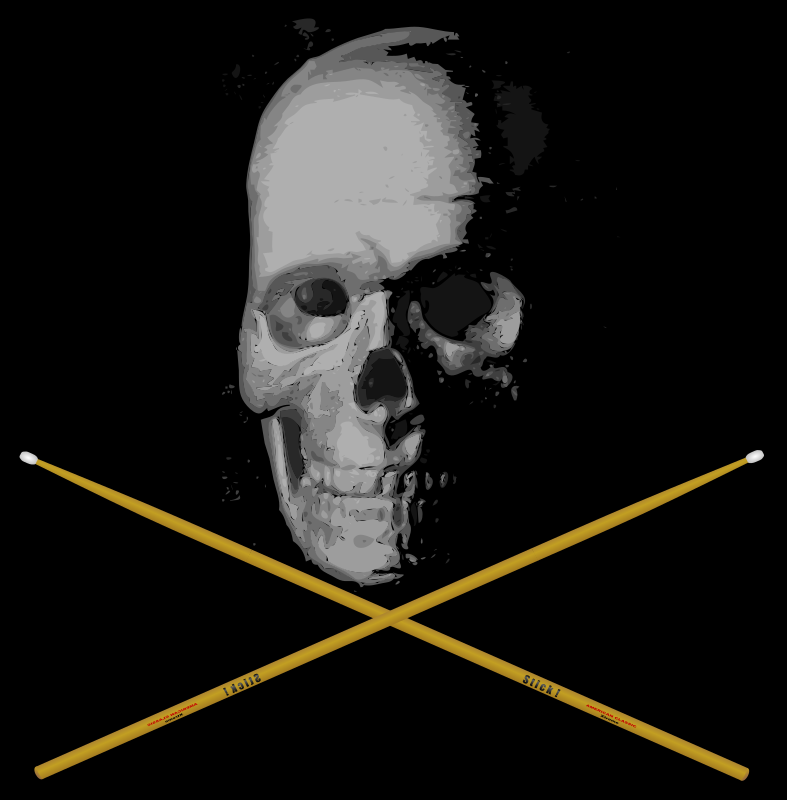 Old Skull Drumming by J_Alves - Skull and bones... I mean, drumsticks. :-) Skull was done by using autotrace on an old BW photo I took of a model skull of mine, and then tweaked in Inkscape. Drumstick was drawn from scratch in Inkscape.