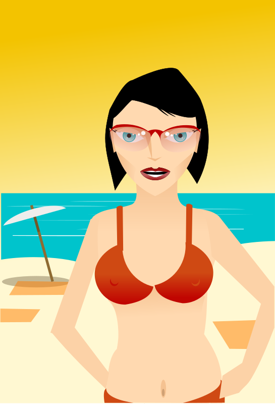 girl at beach by rg1024 - A girl with glasses in a swim suit at the beach.