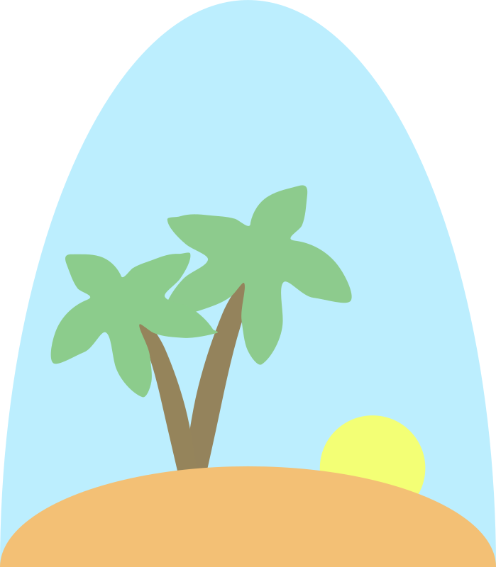 Island scene by laobc - A very simple island scene, with sky, sun rising and coconut trees.