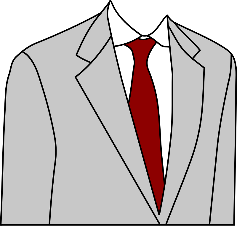 Light grey suit by laobc - Part of a light grey suit with a red necktie.