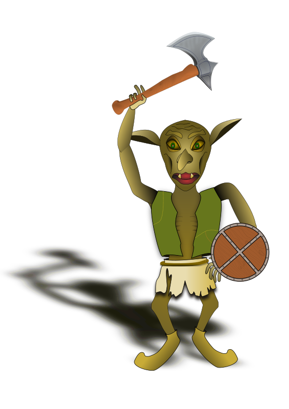 goblin warrior by evilestmark - A goblin in tattered clothing wielding an axe and a shield.  Uses battle axe and shield graphics from openclipart.org library