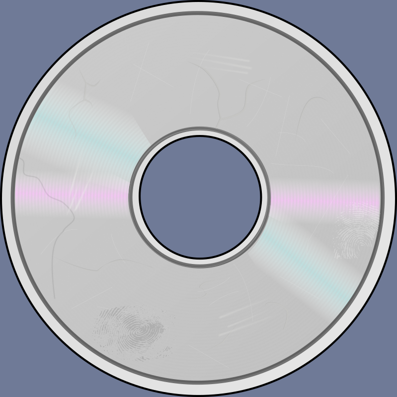 Damaged Compact Disc by eady - Sometimes when a CD (or DVD or other optical disc) is mistreated, it develops surface damage.  After that it usually doesn't play so well, may develop skips or other glitches, and may need to be resurfaced.