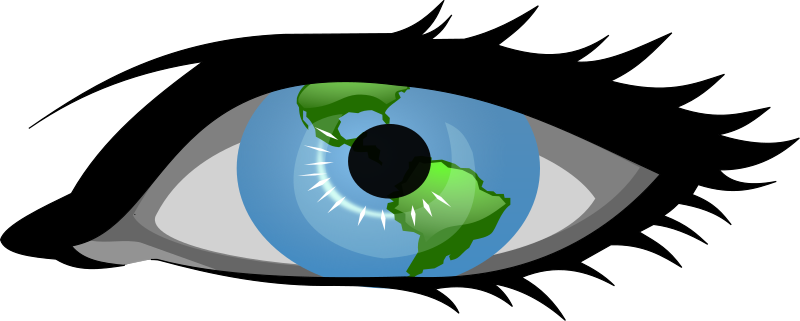 "Global View by cam.morris - Cartoon eye with the world as the eyeball. Mashup of ""blue eye"" by secretlondon, and ""Glossy Globe"" by freedo. Intended for use as an icon indicating ""publicly viewable""."