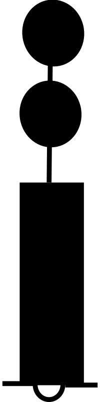 beacon black red black by seafish - sea chart symbol