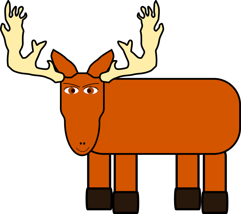 cartoon moose remix by evilestmark - made the antlers a bit more realistic, connected the jaw and upper head paths and added a simple polygonal body.