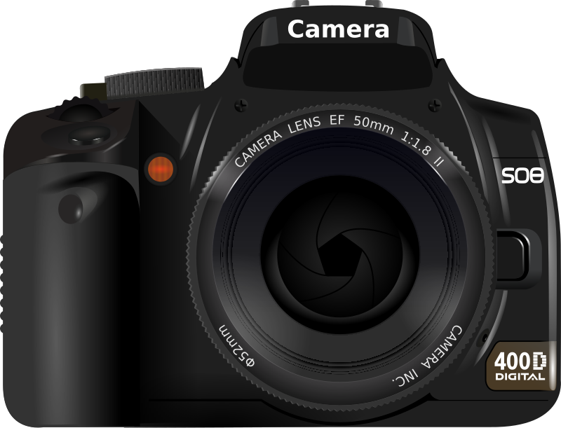 DSLR Camera by flomar - This is a vectorisation of my DSLR camera, a Canon 400D. It is created with Inkscape only and does not contain any fonts or gaussian blur filters.