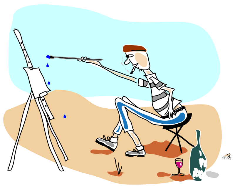 the artist by addon - A thin styled caricature of a Parisian artist painting on an easel.