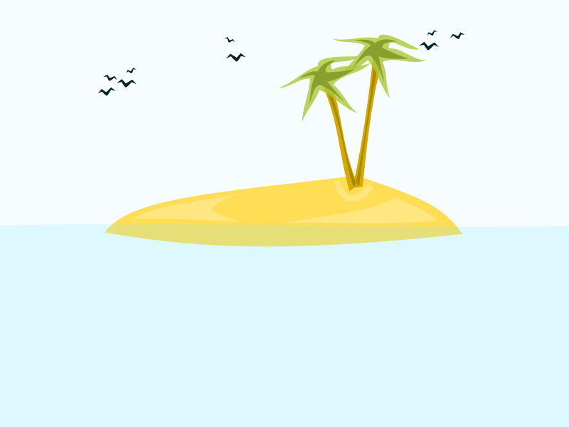 tropical island by i-art - An island with two palms and birds in the sky
