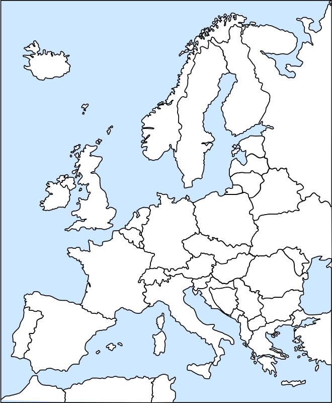 europe outline by bubba - outline map of Europe, each country can be colored as you like with an svg editor, each country can be taken by itself