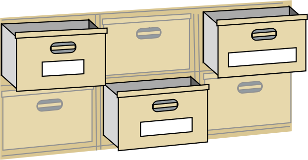 file cabnet drawers by johnny_automatic - a drawing of 6 file cabinet drawers with 3 of them pulled out and highlighted.  From a NASA activity book