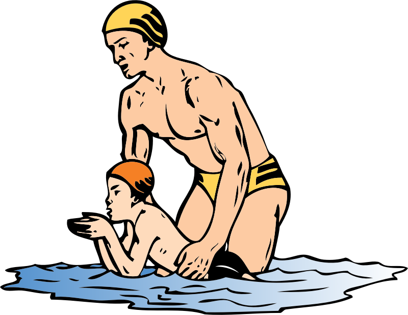 swim lesson by johnny_automatic - a man giving a boy a swimming lesson from a CDC poster