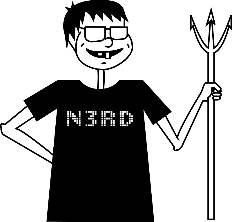 Evil Nerd by hs - A man holding a pitchfork with a black nerd t-shirt.