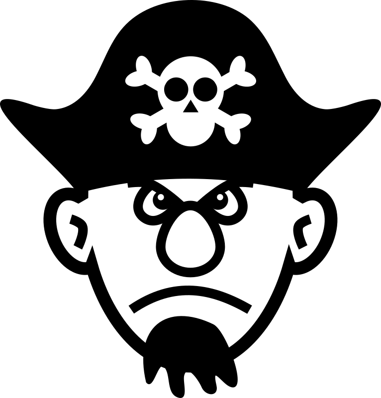 Angry young pirate by laobc - A black and white big nosed young pirate.