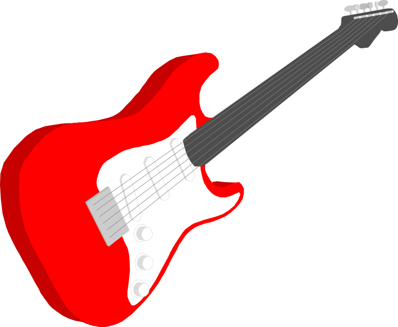 Guitar by gramzon - A red and white electric guitar.