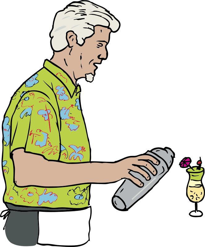 Tiki Bartender; Martin Duus by SteveLambert - Color drawing of older male bartender pouring a tropical cocktail from a cocktail shaker.