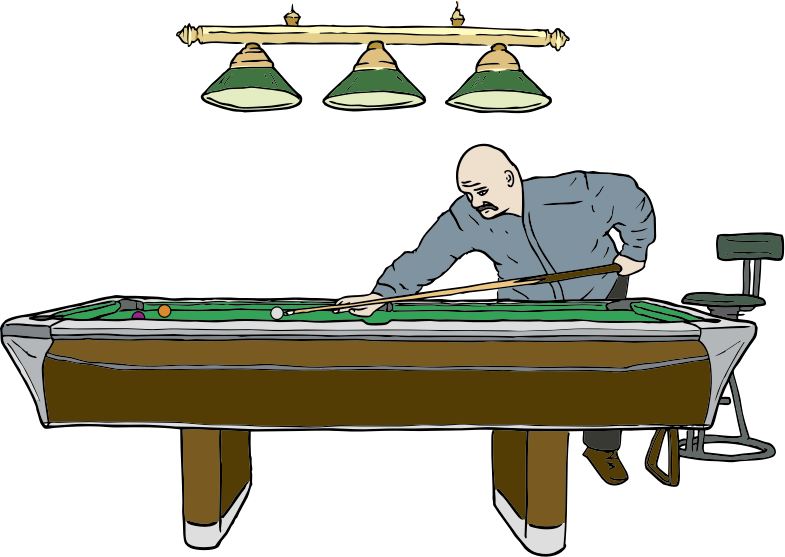 Pool Table with Player by SteveLambert - Color drawing of man leaning over a pool table preparing to make a shot