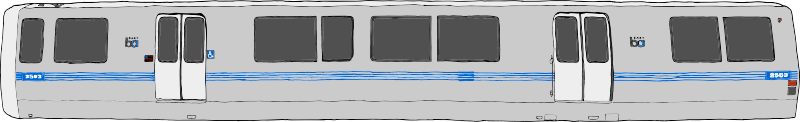 Bart Train Exterior by SteveLambert - Color drawing of a BART (Bay Area Rapid Transit) Train car in profile.