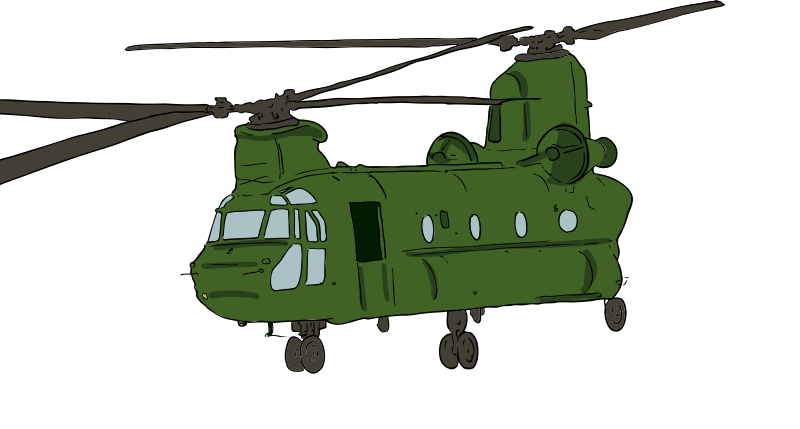 Chinook Helicopter 1 by SteveLambert - Color drawing of a military tranport helicopter