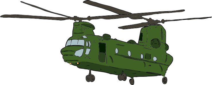 Chinook 2 by SteveLambert - Color drawing of a military transport helicopter