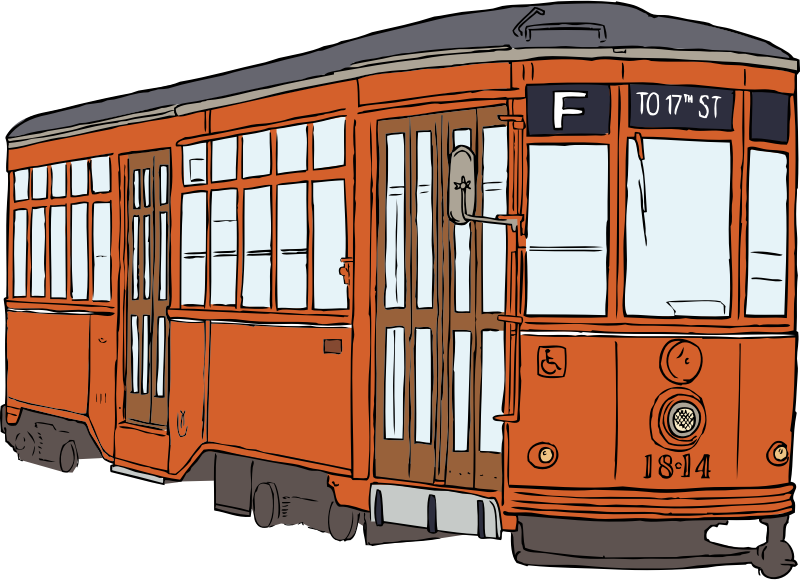 Milan Streetcar by SteveLambert - Color drawing of a vintage streetcar.  These vintage restored streetcars run on the F-Line in San Francisco, but this car originally came from Milan, Italy.