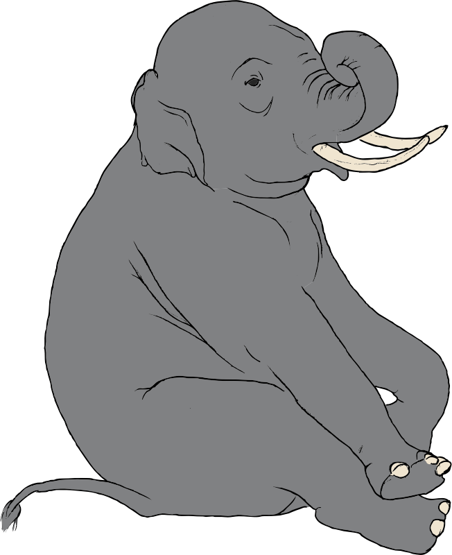 Sitting Elephant by SteveLambert - Color drawing of a sitting elephant