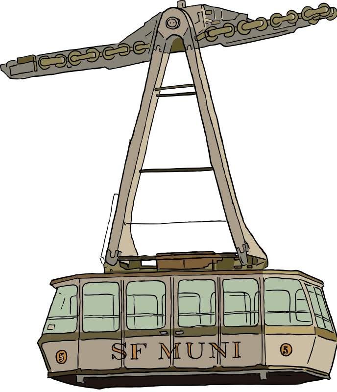 "Aerial Tramway by SteveLambert - Color drawing of an aerial tramway.  Modeled from the aerial tramway that carried passengers to Roosevelt Island from Manhattan in NYC, but changed to it reads ""SF MUNI"" on the side."