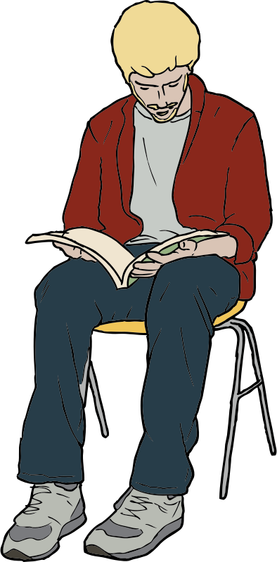 Bennett Williamson Reading by SteveLambert - Color drawing.  Young man, sitting, reading a book in his lap.