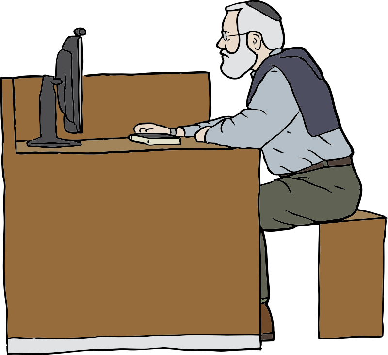 Man Working On Computer by SteveLambert - Color drawing of a man working on a computer in profile.