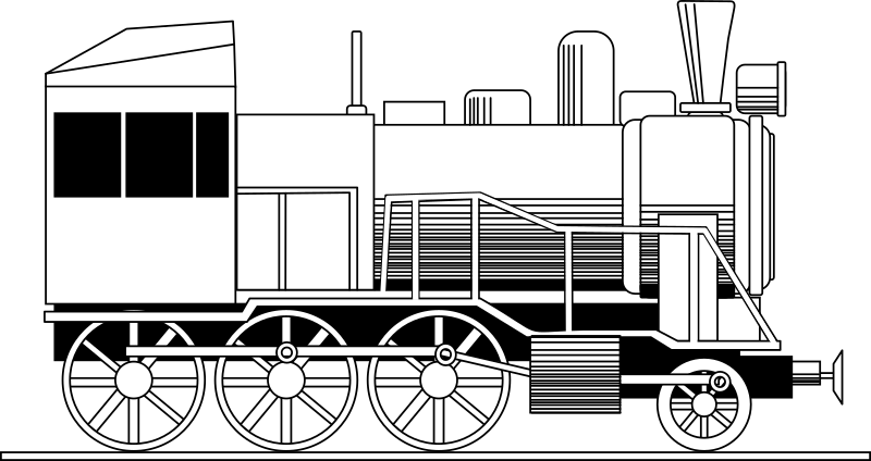 Retro locomotive by rones - Retro locomotive line art.