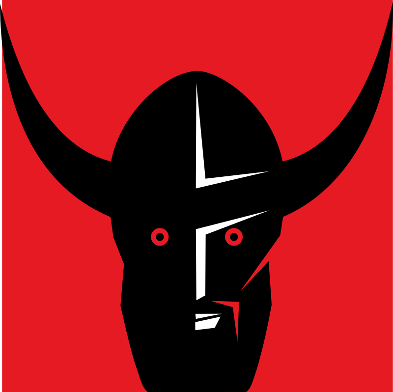 Viking's head by rones - A vicking head slhouette over a red background.
