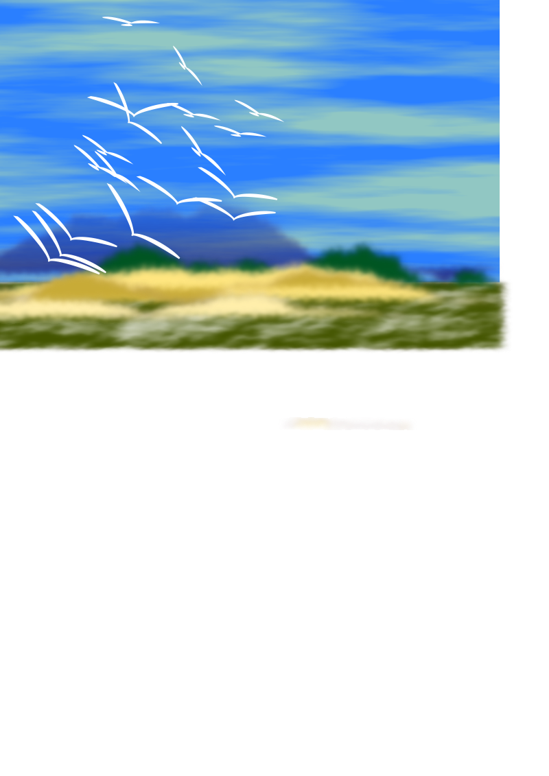 landscape w/ birds by bugmenot - Birds are clones of two 3-part polybezier curves. Landscape is a mix of noise filled rectangles, with straight line fractalized, filled and noisy blured in foreground. Neither is very good by itself, but the two together are not all that bad. The bezier curve birds can be pretty versitile.