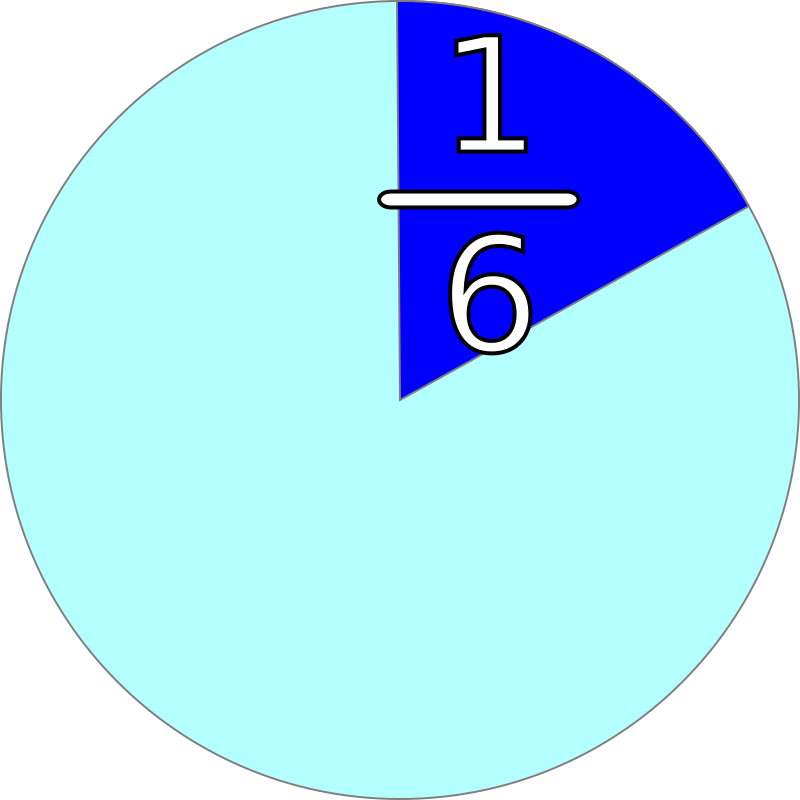 part and fraction 1/6 by mireille - fraction 1/6 and corresponding part of pie