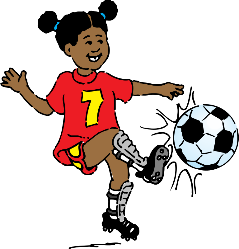 girl playing soccer by johnny_automatic - cartoon of a girl playing soccer from http://www.usda.gov/cnpp/KidsPyra/
