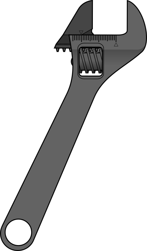 Adjustable wrench by method - Stylized, adjustable wrench Downloaded from http://commons.wikimedia.org/wiki/Image:Adjustable_wrench.svg