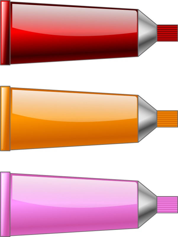 Color tube Red Orange Pink by TrnsltLife - Colored tubes of paint