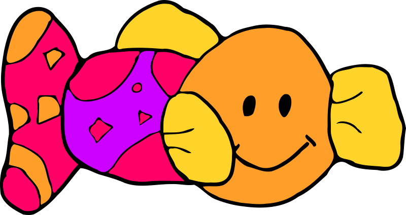 Toy fish by zeimusu - soft toy fish. Brightly coloured. Smiling